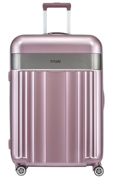 troler titan spotlight 4 roti duble l 76 cm roz