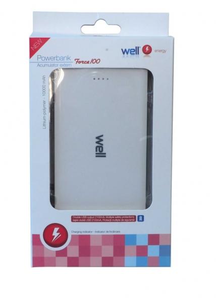 Acumulator USB portabil powerbank 10000mAh 2.1A alb Well