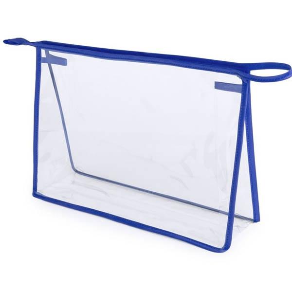 geanta cosmetice transparenta contur albastru