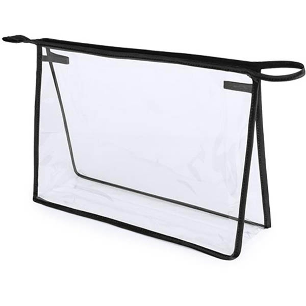 geanta cosmetice transparenta contur negru