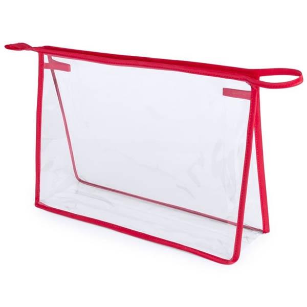 geanta cosmetice transparenta contur rosu