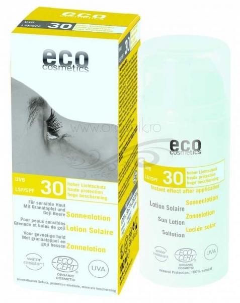 lotiune fluida de protectie solara fps 30 cu goji si rodie 100 ml eco cosmetics