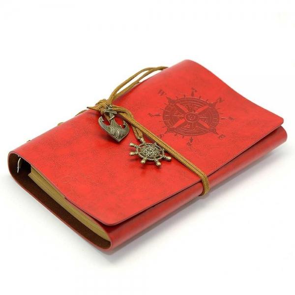 Notebook Vintage de calatorie cu coperta din Piele Ecologica Rosie