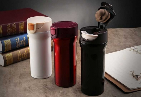 Cana cafea de calatorie 350 ml, termoizolanta - Negru
