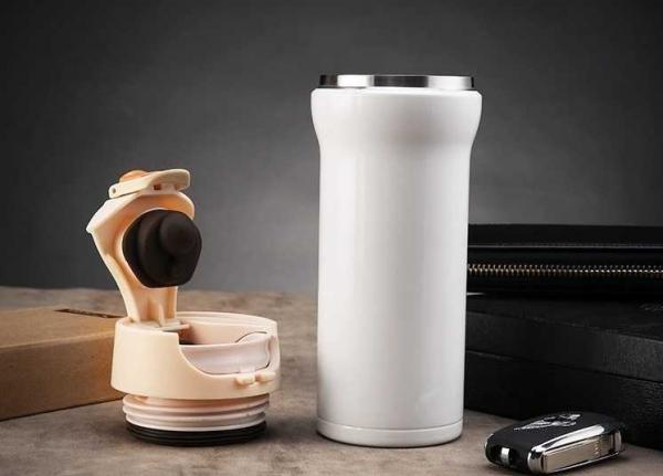 Cana cafea de calatorie 350 ml, termoizolanta - Alb