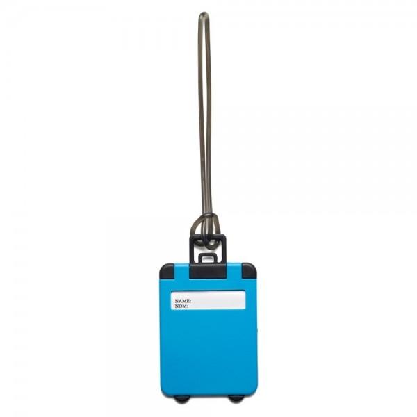 eticheta bagaj model valiza albastru