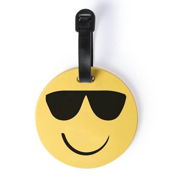 eticheta de calatorie smiling face ochelari