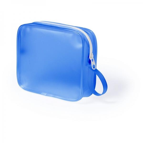 geanta cosmetice translucenta bleu
