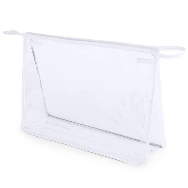 geanta cosmetice transparenta contur alb
