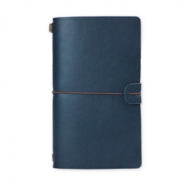 notebook vintage a6 de calatorie cu coperta din piele ecologica albastru
