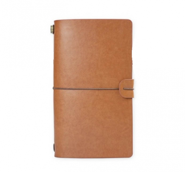 notebook vintage a6 de calatorie cu coperta din piele ecologica maro deschis