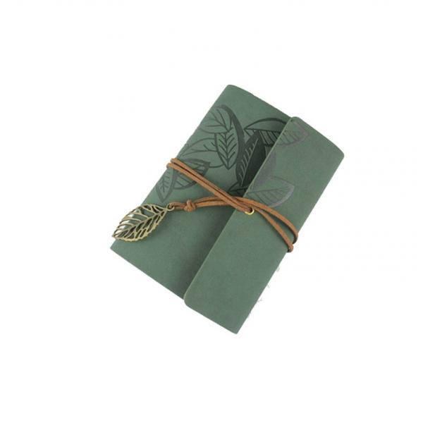 notebook vintage de calatorie cu coperta din piele galbena