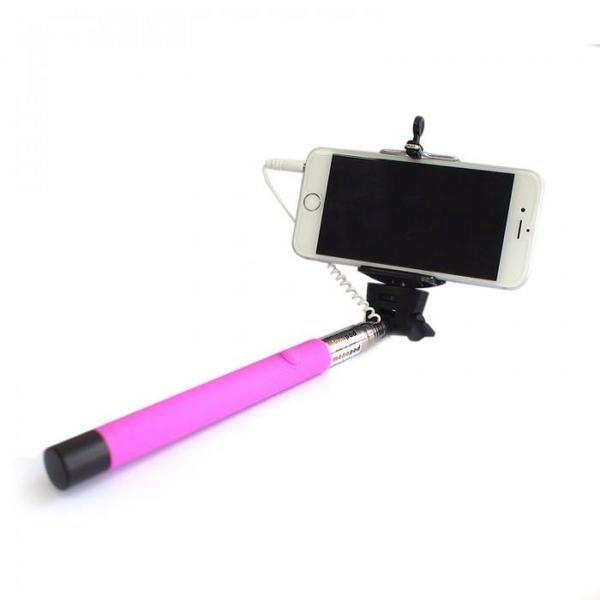 wired selfie stick tellur z07 5 plus neon pink plug and play compatibil apple si samsung