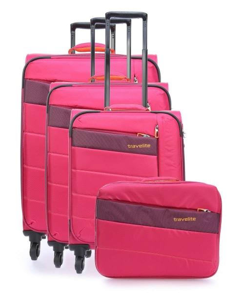 set trolere travelite kite 4w lexp mexp s roz cadou geanta de bord